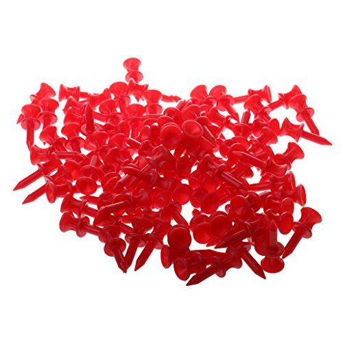 Sharplace Professionell 100tlg. Golf Tees, Golftees Kunststoff, Farbe und Länge Auswählbar - Rot, 32mm -