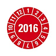 100 Jahresprüfplaketten 2016 Jahr und Monat - rot - selbstklebend 25 mm Durchmesser auf Bogen in robuster Industriequalität auf Premiumfolie