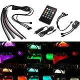 YCNK DC12V Universal-4 x 18cm SMD 9 LED RGB 5050 wasserdichte bunte Musik-Steuer Auto-Innen underdash Licht-Streifen-Licht-Dekoration-Lampe mit Sound aktiv Funktion und Wireless Remote Control