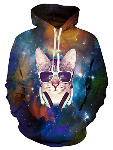 NEWISTAR Unisex 3D Printed Sweatshirts Galaxy Lange Ärmel Jumpers Graphic Animal Kapuzenpullovers