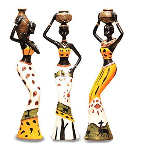 yueyue947 3 Teile/Satz Afrikanische Frau Skulptur Mädchen Harz Dame Figur Statue Dekoration Sammlung Home Kunsthandwerk Geschenk/Gelb