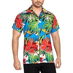 CLUB CUBANA Camisa Hawaiana Florar Casual Manga Corta Ajuste Regular para Hombre XL