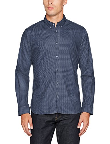 TOM TAILOR Herren Freizeithemd Floyd Soft Print Mix Shirt, Blau (Navy Eclipse 6298), XXX-Large