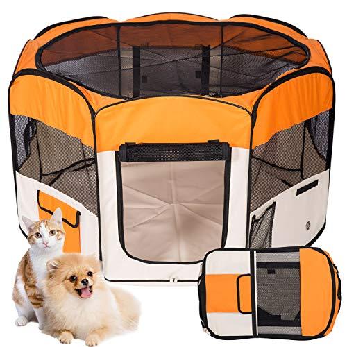 Kaka mall Welpenlaufstall für Hunde Faltbar Laufstall Hund Waschbar Tierlaufstall für Hunde Katzen 8 Plattens (M:8pcs,pro Paneel 45 * 58cm,Durchmesser:115cm, Orange)
