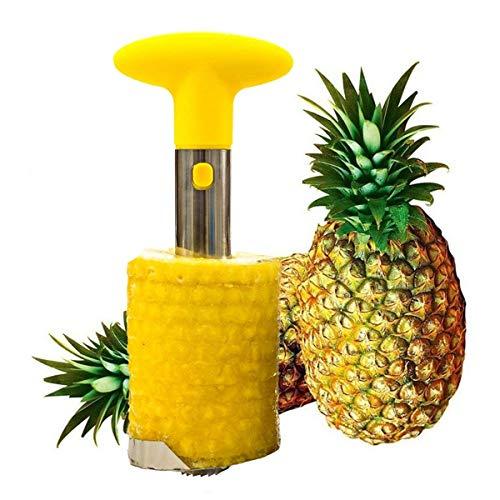 Edelstahl Ananas-Entkerner Ananasschneider Ananas Schäler 3in 1, gelb