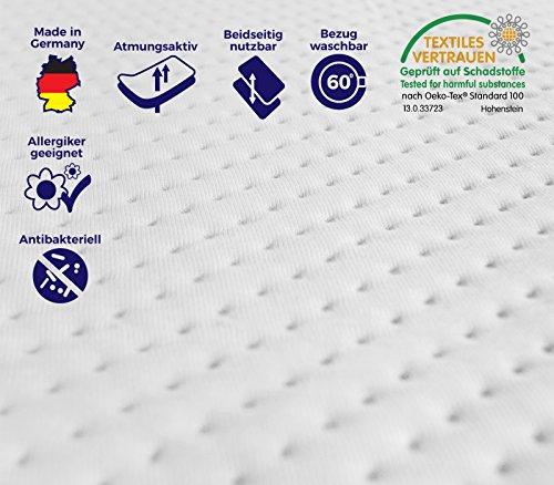 Hochwertige Visco Auflage für Matratze & Boxspringbett in verschiedenen Größen, Matratzen-Auflage, Bezug waschbar bis 60 Grad, ÖKO-TEX® zertifiziert, für Rollmatratze & 7-Zonen Kaltschaummatratze 180x200