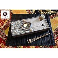 Zen garten Miniatur Ganz Aus Holz für Dekoration Feng shui für Büro Und Zuhause.Set Zubehör Sand Harke Muscheln kerze.Idea für Meditation Und Yoga ॐ