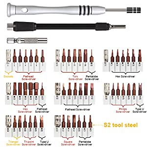 Kootek 60 in 1 S2 Steel Precision Screwdriver Set with 56 Magnetic Driver Kits Cordless Screwdriver Kit, Electronics Repair Tool Bits for iPhone7,Tablet,Game Consoles,Glasses,PC,Cell Phone,Macbook and Other Electronic Accessories
