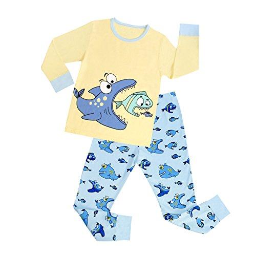 DAWILS Jungen Pyjama Gelb Funny Fisch Winter Langarm zweiteilige Schlafanzug 6 Jahr (Langarm-pyjamas Gelb,)