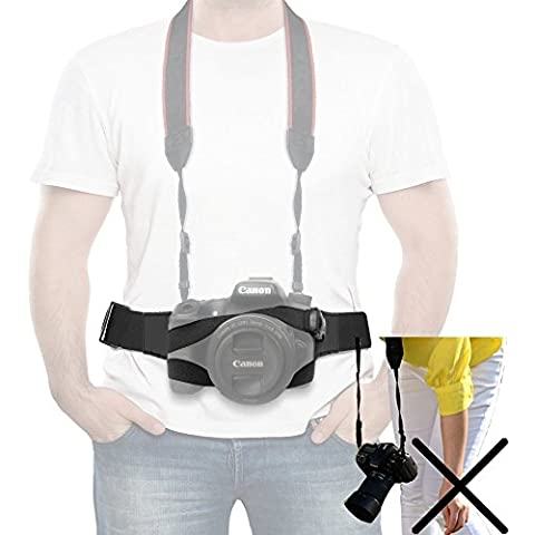 ycnk cámara Correa para cinturón correa de arnés de pecho, correa w/hebilla de cinturón cierre de cámara de liberación rápida ajustable Quick ahorrar Correa de Cintura Para DSRL/Srl Canon, Nikon, Sony, Pentax, Panasonic/Lens Case–Negro