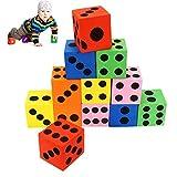 Heelinna Bunte Schaumstoff-Würfel, 12 Stück, groß, Jumbo bunt, Schaumstoff-Würfel für Kinder, Baby, Lernspiel, Puzzle-Spiel