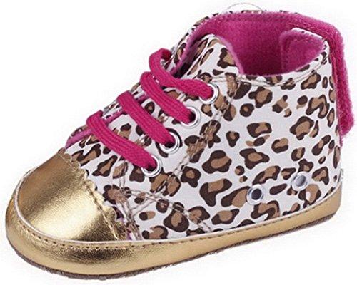EOZY Chaussures Bébé Fille Premiers Pas Sole Léopard pour Age 6-12 Mois Or