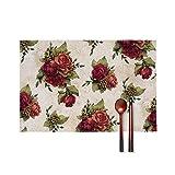 wulingqu-Tischsets Hitzebeständige Tischsets Fleckenbeständige Anti-Rutsch Waschbare Tischsets aus Segeltuch, Vier Stück-Antike rote Rose