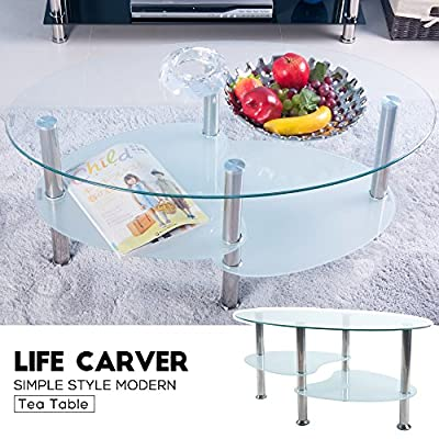 Cara Oval Clear and Frosted Glass Coffee Table - low-cost UK light store.