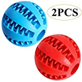 Feixun Pets Hundespielzeug Ball Hund Feeder Ball Ø 7.6-8.1cm (Rot + Blau Type A)
