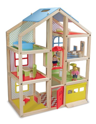 Melissa & Doug Hi-Rise Wooden Doll's House With 15 pcs Furniture - Garage and Working Elevator