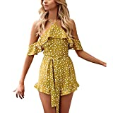 Junjie Damen Jumpsuits, Kalte Schulter Partei Overall Playsuit Strand Hose Trägerloser mit Rüschen Off Shoulder Damen Boho Ärmellos Overall Playsuit Wide Leg Pants