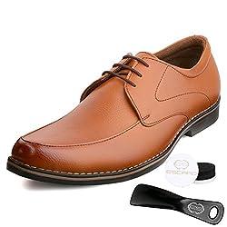 Escaro Mens Tan Formal Derby Lace Up Dress Shoes (ES1040KB_TAN_9)