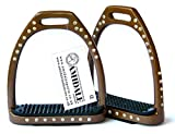 Amidale aluminium-leichtgewicht-steigbügel Reiten 54 Kristalle/Strass - Braun, 4.75