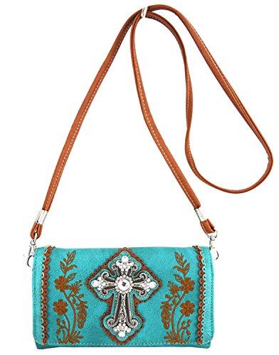 Blancho Biancheria da letto delle donne [Fiore] PU Leather Bag Set Elegante Portafoglio Hanbag Comobo Fashion Bag Turchese Wallet-Turchese