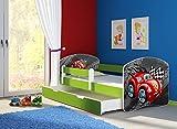 Clamaro 'Fantasia Grün' 160 x 80 Kinderbett Set inkl. Matratze, Lattenrost und mit Bettkasten Schublade, mit verstellbarem Rausfallschutz und Kantenschutzleisten, Design: 05 Rennwagen Rot