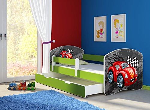 Clamaro \'Fantasia Grün\' 160 x 80 Kinderbett Set inkl. Matratze, Lattenrost und mit Bettkasten Schublade, mit verstellbarem Rausfallschutz und Kantenschutzleisten, Design: 05 Rennwagen Rot