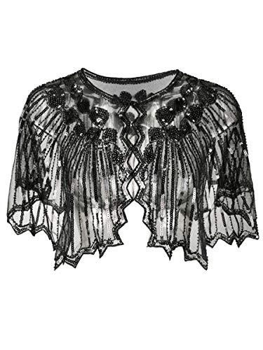 Grouptap 1920er Jahre Gatsby Schal Bolero Pailletten Cape Achselzucken Wrap für Schwarze Frauen Damen Flapper Art Deco Vintage Kleid Kostüm (Schwarz, Einheitsgröße)