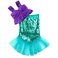 iiniim Girls Princess Mermaid Costume Fancy Dress for 2-10 Years Child Halloween Birthday Party Dress Up