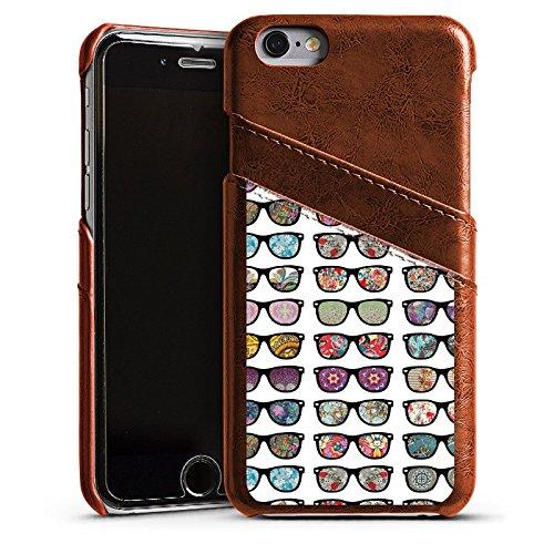 Apple iPhone 5 Housse étui coque protection Lunettes hipster Hipster Étui en cuir marron