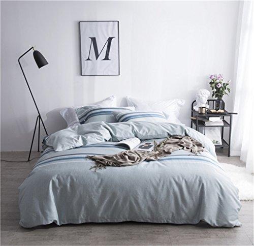 Bettwäsche Bettlaken Bettbezug Bettdecke Set 4 Stücke 100% Ägyptische Langstapel-Baumwollgewebe Zeitgenössische Geometrischer Streifen Gitter Weich Und Bequem, Voller Königin Bett Größe,C,Queen -