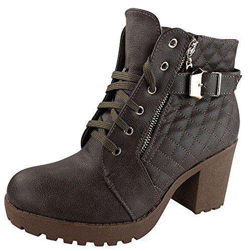 Damen Stiefeletten High Heels Boots gefüttert Stiefel Ankle ST847 Braun