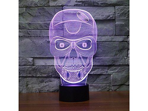 (HFjingjing Dekorativ 3D Halloween Schädel Kopf LED Licht Figur Illusion 7 Farbwechsel Smart Touch USB Tisch Schreibtischlampen für Schlafzimmer)