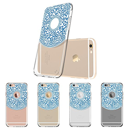 Coque iPhone 6s Mandala, ESR iPhone 6 / 6 S Coque Silicone Transparente Motif Mandala Tribal Fleur Henné Imprimé, Housse Etui de Protection Bumper Premium [Anti Choc] [Ultra Fine] [Ultra Léger] pour A Moiré Porcelain