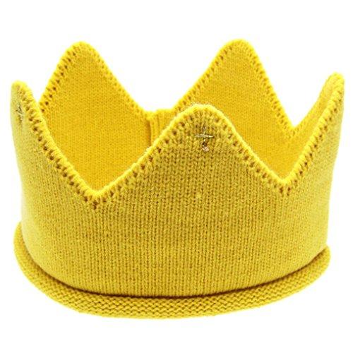Alt Jahr Mädchen Kostüm 1 Baby - Ularma Baby Mütze Kaiserkrone Weichen Wolle Hut Kinder Cap Kopfband Kostüm für: 6M-3Jahr Baby (gelb)