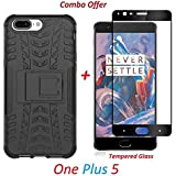 YuniKase OnePlus 5 / One Plus 5 / One Plus Five (COMBO OFFER) Original Hybrid Armor Design Detachable And Stand-up Feature Dual Layer Protective Shell Hard Back Cover Case ( Black ) + 2.5D Curved 3D Edge To Edge Full Screen Tempered Glass Mobile Screen Pr