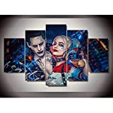 ZEMER 5 Pannello Stampa su Tela Suicide Squad Joker con Harley Quinn Picture Art HD Artworks Decorazione per La Casa Moderna,Noframe,L