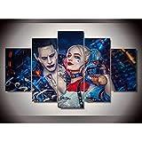 ZEMER 5 Panel Leinwanddrucke Suicide Squad Joke Mit Harley Quinn Bild Kunst HD Kunstwerke Moderne Home Wall Decor,Noframe,S