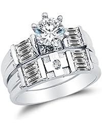 Sólido 14 K oro blanco alta calidad CZ Cubic Zirconia Ronda Cut anillo de compromiso y