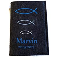 Gotteslob hülle mit Namen aus filz Fisch Blautöne