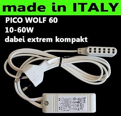 Tci Saronno Italy Elektronischer Halogen Treiber Trafo Transformator 230240v Ac - 12v Ac 10w-60w Kurzschlussgesichert Und Temperaturgeschtzt 15m Kabel Mit Flachstecker 6fach Amp Steckerleiste von TCI Saronno ITALY