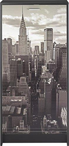 Simmob SHOOT120NO500 New York 500 Meuble à Chaussures avec Rideau Imprimé Bois Noir 125 x 37 x 14 cm