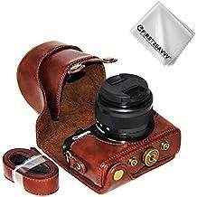 First2savvv marrone scuro Qualità premium Custodia Fondina in pelle sintetica per macchine fotografiche reflex compatibile con Canon EOS M100 EOS M10 con obiettivo 15-45mm XJD-EOS M100-10G11