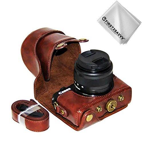 First2savvv PU cuir étui housse appareil photo numérique pour Canon EOS M100 avec Lens 15-45mm + Chiffon de nettoyage XJD-EOS M100-10