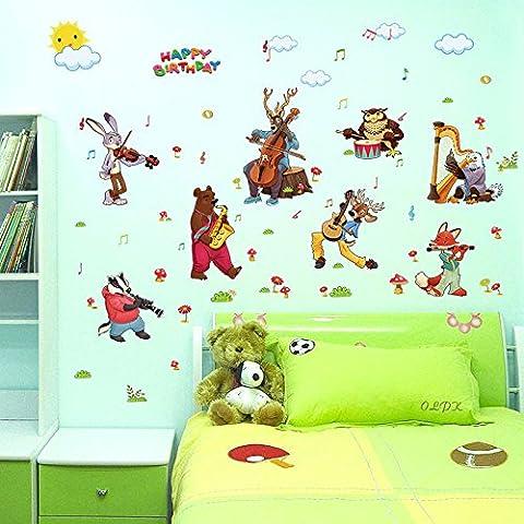 Zooarts Animal Cumpleaños banda extraíble pegatinas de pared Art Decor Calcomanías de vinilo Niños Mural de