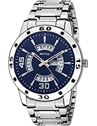 Matrix Silvermine Analog Blue Dial Wrist Watch Day And Date Display For Men & Boys- DD8-BL-ST
