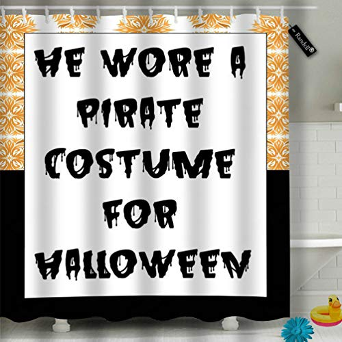 wer Curtain Happy Halloween Slogan Fashion Waterproof Fabric Shower Curtain 60(W) X 72(L) Inches for Men Women Kids ()