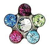 Pritties Accessories Studex Sensitive Ohrstecker Gänseblümchen Kristall Regenbogenfarben Ohrringe Edelstahl silberfarben 5 mm Krappenfassung