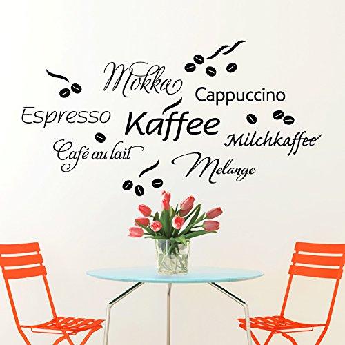 Wandaro W3302 Wandtattoo Kaffe Cappuccino Espresso Milchkaffee schwarz 80x41cm