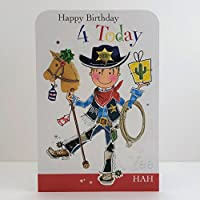 Jonny Javelin Boy Age 4 Birthday Card
