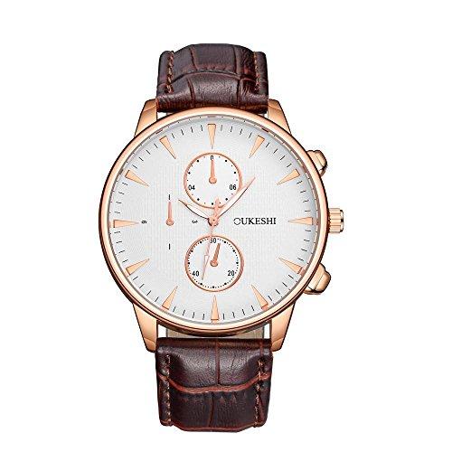 Relojes mecánicos de cuero para hombre, KanLin1986 Mens azul de lujo de lujo Rayo analógico reloj de pulsera (B)